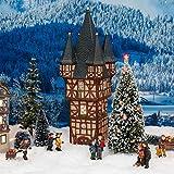 Gärtner Pötschke Miniatur-Weihnachtsdorf -Lichthaus Bromser-Turm in Rüdesheim