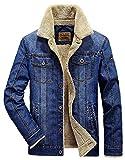 Minetom Inverno Parka Retro Caldo Giacche Capispalla Jeans Giacca Da Uomo Outwear Casual Manica Lunga Jacket Azzurro A EU S