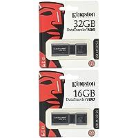 Kingston DT100G3 DataTraveler 100 G3, USB 3.0, 3.1 Flash Drive, 32 Go + 16 Go, Noir