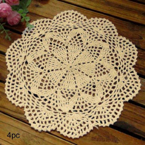 olle Spitze Tischsets Deckchen Value Pack, 4, Roma, baumwolle, beige, 10 inch beige ()