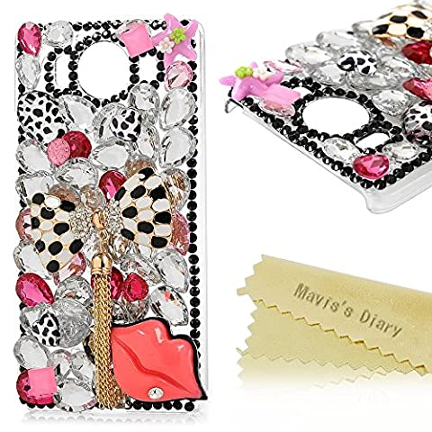 Microsoft Lumia 950 Case , Mavis's Diary® Sparkle Bling Glitter Crystal Series Protector Diamond Gems Rhinestone Pearls [Luxury 3D Handmade Glitter Design][Anti-slip] Transparent Hard Bumper Clear Plastic Protective Cover for Microsoft Lumia 950 , Black Dots Bow