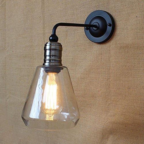 KMYX Vintage Glas Wandleuchte rustikale Land Metall Wandlampen Bar Schlafzimmer Badezimmer Treppe Spiegel Lampen Wandleuchten Loft Küche E27 -