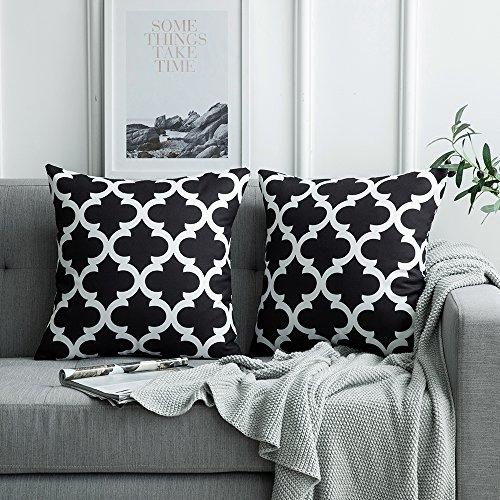 MIULEE 2er Pack Leinenoptik Home Dekorative Kissenbezug Geometrisches Kissen Kissenhülle für Sofa Schlafzimmer Auto mit Reißverschlüsse Schwarz 18 * 18 Zoll 45 * 45 cm