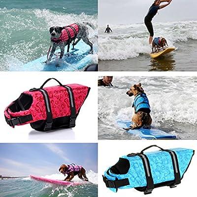Ericoy Hunde Schwimmweste Float Coat Schwimmhilfe Rettungsweste für Hunde Haustier Mit Griff und Reflektoren Orange S