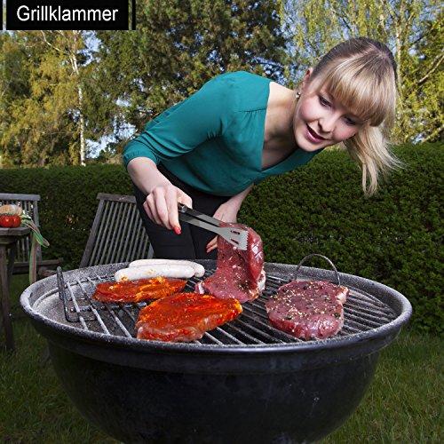 61wdH7N1gzL - 6 in 1 Grillbesteck Koffer + BBQ Thermometer Bify Edelstahl Grillbesteck-Set 6-Teile im Aluminium BBQ Grill Zubehör mit Tragetasche