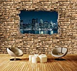 Premium Vliestapete 3D New York City by Nacht - Steinmauer Fototapete DA00000653 Vliestapete XXL XXL 400 x 280 cm - 8 Teile - Vlies