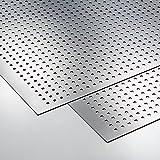 [70201020] Gadana Motiv, Dekorplatte, Optik: Quadrate transparent Metalleffektplatte / Edelstahloptik gebürstet, Größe 650 x 1000 mm, Reliefhöhe: 1.9 mm