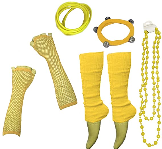 Neon UV Legwarmer Gloves Beads Gummies For Hen/80s Fancy Dress Party - 10 Colours available