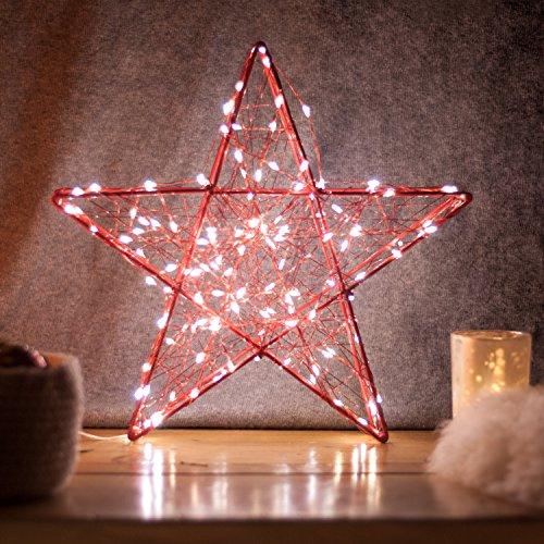 SnowEra - Décoration lumineuse / Illumination de Noël en Métal avec 140 micro-LED - Couleur LED : Blanc chaud - Forme : Étoile en métal rouge