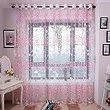 Gardine Vorhänge Verdunklungsvorhang Verdunklungsgardinen mit Ösen HKFV Vorhänge Blütenblatt Vorhang Tulle Fenster Behandlung Voile (Rosa)