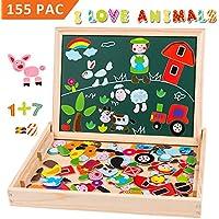 Uping Puzzle de Madera Magnético | Puzzle de 115 Piezas + Número de 40 Piezas y Alfabeto | Tablero de Dibujo de Doble Cara Magnético, Juguete Educativo | para niños de 3 años+ - Peluches y Puzzles precios baratos