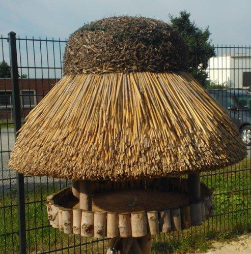Vogelhaus Sylt mit Reetdach (rund 74 cm Durchmesser (ohne Ständer)) - 3