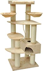 nanook Katzen-Kratzbaum XXL Sokrates - Kratzstämmen 14 cm Ø - XL Katzenhöhle - große schwere Katzen - 194 cm hoch - beige