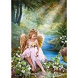 PUZZLE 1500 Teile - Mädchen am goldenen Teich Engel Paradies Kinder gemalt Blumen - Motiv romantisch