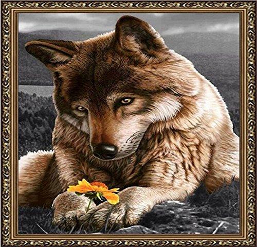 Set Diamond Painting Handarbeit Basteln Steine Mosaik Bild Wolf mit Blume Gelb -