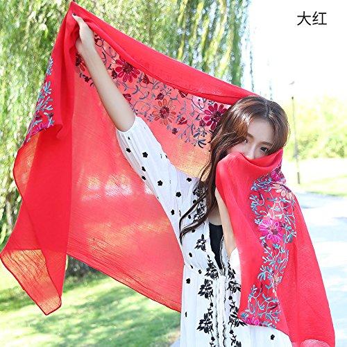 Decoration sj Sciarpe signore primavera e autunno ricamo selvaggio grande con scialle con più sciar
