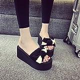 ZHANGJIA Schuhe, Schuhe, Fliege, Modische Strand Schuhe mit Dicken Hintern - Sandalen,37