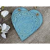 Keramik Herz in Meeresblau zur Dekoration