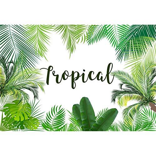 OERJU 2,2x1,5m Strand Party Hintergrund Tropische Blätter Muster 1 Hintergrund Kostümparty Banner Urlaubs Party Videoprodukt Porträt Fotografie Requisiten (Banner Urlaub)