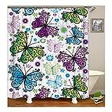 Epinki Polyester Badewanne Vorhang Schmetterling Muster Duschvorhang Mehrfarbig für Badezimmer 165X200CM