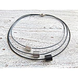 Lederkette mit Aluminiumperlen 3-reihig grau schwarz Geschenk für Sie