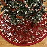 Weihnachtsbaum Decke, Rentier Gedruckt Weihnachtsbaum Rock Dekoration Schneeflocken Weihnachtsbaumdecke Elch Weihnachtsbaum Röcke Weihnachtsschmuck Weihnachtsbaum Deko Weihnachtsdeko (B-Rot, 120cm)
