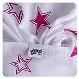 XKKO BMB070020A 3er Pack Bambuswindeln zum Wickeln, beim Stillen, als Unterlage oder leichte Decke, Windeln 70 x 70 cm, mehrfarbig