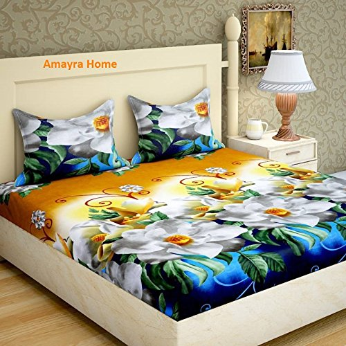 Amayra Home 120 TC Microfibre Double 3D Luxury Bedsheet with 2 Pillow...