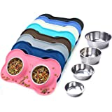 VIVAGLORY Dog Bowls, Stainless Steel Cat Puppy Bowl Set with Non-Spill Skid Resistant Silicone Mat, 200ml Each, Pink