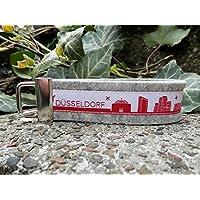 Schlüsselanhänger Schlüsselband Wollfilz hellgrau Düsseldorf Skyline rot weiß!