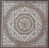 Naturstein Marmor Rosone 60x60 cm Jura Mosaik Einleger Beige Creme Fliesen 054