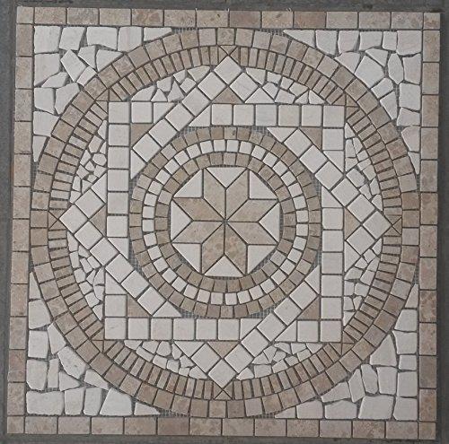 Preisvergleich Produktbild Naturstein Marmor Rosone 60x60 cm Jura Mosaik Einleger Beige Creme Fliesen 054