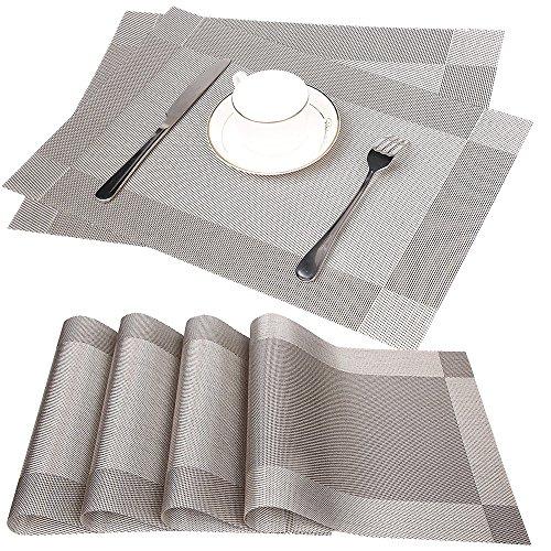 Fontic 6er Set Platzsets 30x45cm Platzdeckchen Rutschfest Abwaschbar Tischmatten aus PVC Abgrifffeste Hitzebeständig Tischsets Schmutzabweisend und Waschbare, Platz-Matten für küche Speisetisch (Gr
