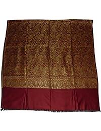 Vrinde Women's Wool Self Design Shawl(Maroon)