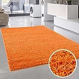 Teppich Uni Langflor Shaggy Modern Einfarbig Rechteckig Wohnzimmer Schlafzimmer, Farbe:Orange, Größe in cm:133 x 190 cm