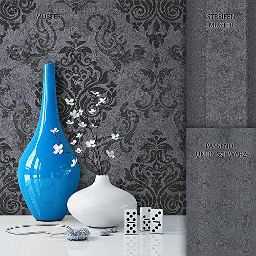 NEWROOM Barock Tapete Schwarz Vliestapete Grau Barock, Modern, Natur schöne moderne und edle Design Optik , inklusive Tapezier Ratgeber