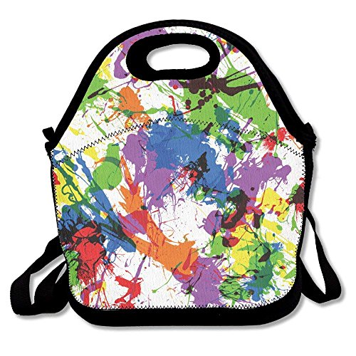 Paint Splatter Print Ziplock Lunch Tote Bag Portable Handbag Lunch Box Waterproof Insulated Food Container for Boys&Girls School Picnic Office Travel Outdoor
