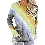 Aiweijia T-Shirt Tie-Dye da Donna Cielo Stellato Maglione Tascabile a Maniche Lunghe con Scollo Tondo Sfumato Sfumato
