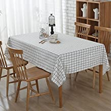 Lino y algodón mantel rectangular Vintage hule tejido de lino de mesa gamuza de mesa de comedor para el hogar Hotel Cafe restaurante Picnic, antimanchas, calor y resistencia a la humedad, White lattice, 140 x 200 cm