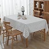Retro Cotton Linen Table cloths, Rechteck Tisch Esstisch für Hotel Kaffee Restaurant Esstisch Dekoration, fleckabweisendes, Wärme und Feuchtigkeit Widerstand (140 x 200 cm, Weiß Gitter)