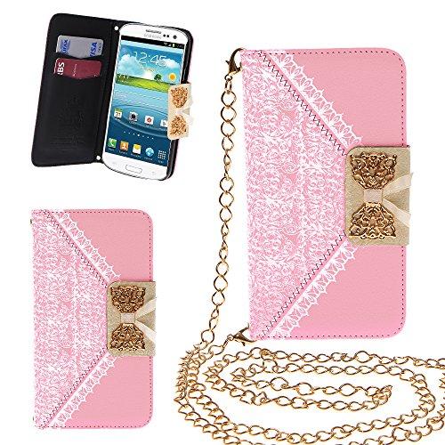 Xtra-funky esclusivo pu cuoio del modello del merletto e fiocco dorato di vibrazione di caso della copertura della borsa con la carta di credito e denaro slot e staccabile catenina d'oro per samsung galaxy s3 (i9300) - rosa chiaro