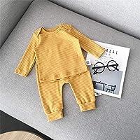 ZWS Traje de niños bebé Primavera y otoño Conjunto de Rayas de Color sólido,Amarillo,90 Metros