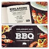 (20 x) Einladungskarten Geburtstag BBQ Bratwurst Grillen Bier Barbecue Einladungen