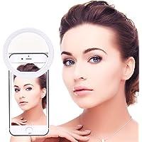 BlueBeach® 36 LED Clip sur Mini Selfie LED Ring Flash de Lumière Photo Vidéo Lampe pour Smartphones (Blanc)