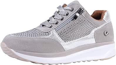 Shujin Baskets à paillettes pour femme - Chaussures de loisirs à lacets avec talon compensé - Chaussures de sport brillantes et confortables