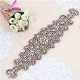 Hecho a mano rebordear el vestido de boda cinturón de diamantes de imitación apliques de Hotfix para los cinturones de novia (oro rosa)