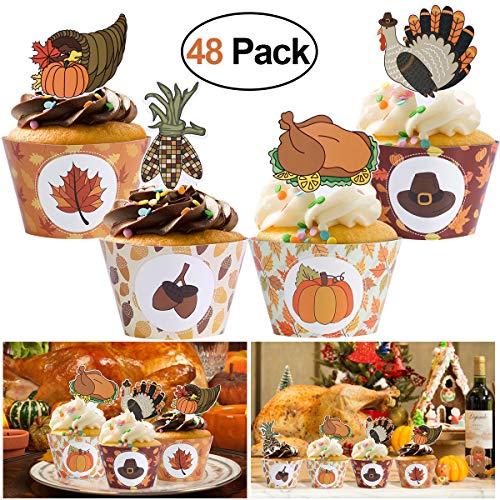 Amosfun Thanksgiving Cupcake Toppers und Wrapper Cupcake Kuchen Dekorieren Picks Set 48st