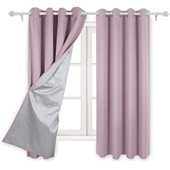 Deconovo Eyelet Curtains Room Darkening Thermal Insulated Ring Top Blackout For Kids With Backside