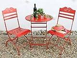 Sitzgruppe 'Passion' Tisch mit 2 Stühle Set aus Metall Rot Gartenstuhl Gartentisch