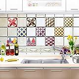 Schottischen Stil Selbstklebende Abnehmbare Fliesen Kreative Küche Aufkleber Badezimmer Wasserdicht Öl 20x20 cm